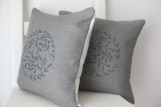 Folksy, Linen and Lisle, Set of two hand printed leaf circle cushions £30.00