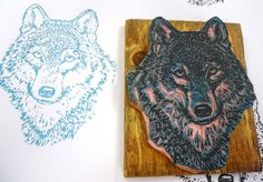 Wolf - Hand Carved Rubber Stamp Idea