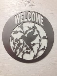 Hummingbird Welcome, Metal Sign, Welcome Sign, Hummingbird, Garden Art, Yard Art, Metal Hummingbird