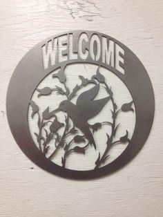 Metal Hummingbird Welcome Sign
