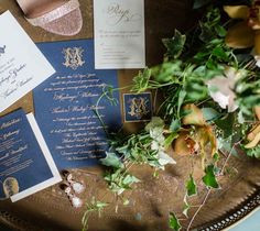 Regal looking wedding invites! Gold and navy stationery/elegant wedding invitations