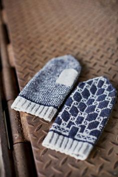 and Geometric Colorwork Mittens Pattern by Brooklyn Tweed Knitted Mittens Pattern, Knit Mittens, Knitted Gloves, Knitting Patterns, Blue Mittens, Crochet Pattern, Brooklyn Tweed, Textiles, Sewing To Sell