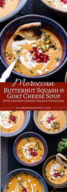 Butternut Squash and Goat Cheese Soup w/Coconut Ginger Cream + Pistachios Moroccan Butternut Squash and Goat Cheese Soup w/Coconut Ginger Cream + Pistachios Healthy Recipes, Chili Recipes, Fall Recipes, Vegetarian Recipes, Dinner Recipes, Cooking Recipes, Vegitarian Soup Recipes, Party Recipes, Cheese Recipes