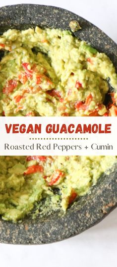 Who doesn't love guacamole?  When combined with roasted red peppers and cumin its even better! You'll absolutely love this healthy, gluten free, vegan and nut free dip.  Best part is that it only uses a few ingredients and can be made in five minutes! Perfect for a last minute summer gathering #roastedredpepperguacamole #guacamole #healthyguacamole #avocado #guacamolerecipe #redpeppers #vegandips #sidedish #dips #veggiedip #summersides Vegan Mexican Recipes, Healthy Eating Recipes, Healthy Snacks, Vegan Recipes, Vegan Food, Easy Recipes, Vegan Side Dishes, Side Dish Recipes, Vegan Appetizers