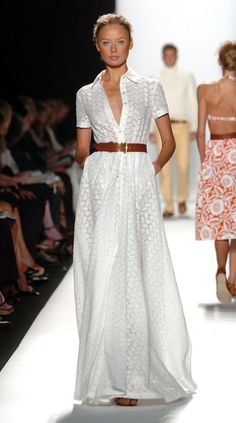 Michael Kors Spring 2006 - Runway White Dress / Brown Belt<br> A model walks the runway at the Michael Kors Spring 2006 fashion show during Olympus Fashion Week at the New York Public Library September 2005 in New York City. Fashion 2020, Fashion Show, Fashion Tips, Fashion Hacks, Runway Fashion, Dress Skirt, Dress Up, Belt For Dress, Look Blazer