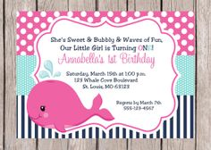 PRINTABLE Personalized Pink Whale Birthday Party by ciaobambino, $12.00