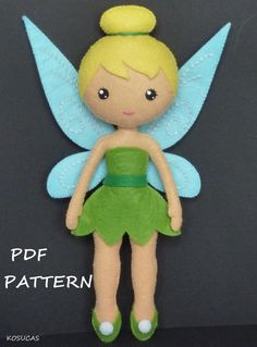 PDF sewing pattern to make a felt Fairy 8.8 inches tall. It is not a finished doll. Includes tutorial with pictures and step by step explanation. For hand sewing. Difficulty: medium Instructions in Spanish-English. Things to do with this pattern can be sold in your own shop. Mass production, re-sale and distribution of pattern pieces and instructions is Expressly prohibited. Dolls made from this pattern are not suitable for children under 3. Instant download. If you have problems…