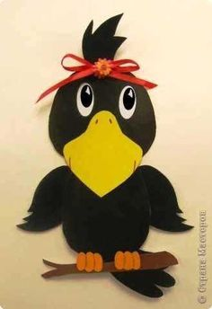 fall crafts for toddlers crow craft idea Fall Paper Crafts, Bird Crafts, Autumn Crafts, Autumn Art, Foam Crafts, Animal Crafts, Autumn Theme, Diy And Crafts, Autumn Ideas