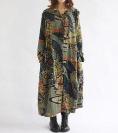 women Hooded long sleeved dress Loose fitting  Women autumn Clothing long coat windbreaker by MaLieb on Etsy https://www.etsy.com/listing/74333872/women-hooded-long-sleeved-dress-loose