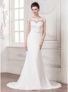 Trumpet/Mermaid Scoop Neck Court Train Chiffon Wedding Dress With Appliques Lace Bow(s) - MADE TO ORDER