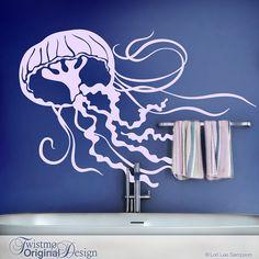 Jellyfish Decal - Bathroom Wall Decor, Under the Sea Room Decor, Sea Life Wall Decor on Etsy, $28.00