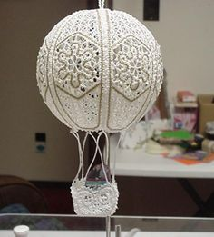 Advanced Embroidery Designs - FSL Battenberg Lace Hot-Air Balloon Ornament