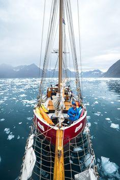 Sailing ship Arktika exploring the east coast of Greenland.