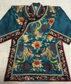 Vintage Blue Chinese hand embroidered Phoenix Peony Butterfly silk robe…