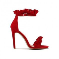 Lucid Frill Strap Barely There Heels in Red Faux Suede