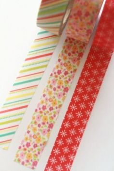 Chibi Run 3 Roll Bulk Pack - Washi Tape Summer Stripe/Summer Floral/Red