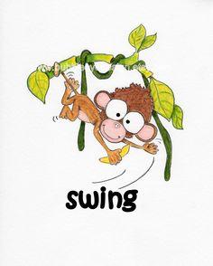 CHILDRENS ART PRINT 8x10 Swing Monkey by BubbleEyeDesign on Etsy