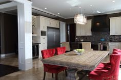 Dark dining room with a pop of red Vancouver, Custom Built Homes, Dining Rooms, Conference Room, Pop, Dark, Modern, Table, Furniture