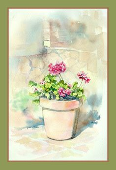"""Мастер-класс """"Горшок с геранью"""" Painting Inspiration, Planter Pots, Watercolor, Vases, Bouquets, Art, Printables, Pen And Wash, Paintings"""