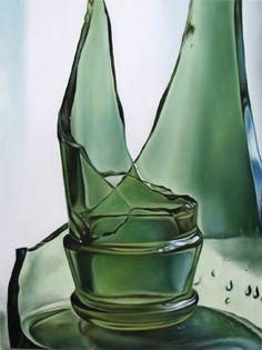broken green glass bottle photorealism still life