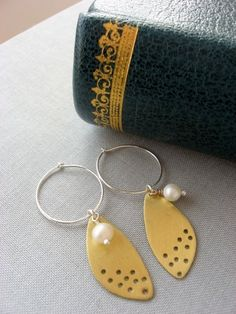 Pearl. Sterling and brass. Earrings.