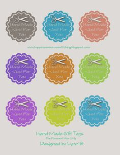 Hand made just for you gift tags