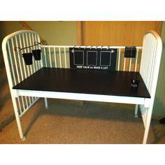 seen a million versions of crib made into desk or craft table for kids but this pic gave me the idea to make it into a potting table
