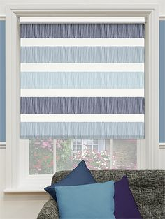 Choices Cardigan Stripe Blue Horizon Roller Blind from Blinds 2go