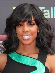 Kelly Rowland Wavy Hair With Bangs - Bangs or No Bangs – Celebrity Hairstyles