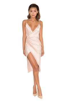 Clothing : Bodycon Dresses : 'Coco' Nude Satin Drape Back Dress