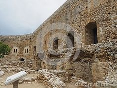 Inner walls of the castle keep in the courtyard of the keep at Chlemoutsi Castle (aka Chateau Clermont or Castel Tornese), a medieval Frankish castle built by Geoffrey I Villehardouin in 1220-1223. Situated overlooking the plains of Elis (Ilia), north-west Peloponnese, Greece.