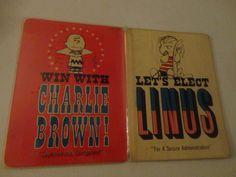 Vintage 4 Peanuts Character Election Voting Cards Hallmark 8x6 color cartoon find me at www.dandeepop.com