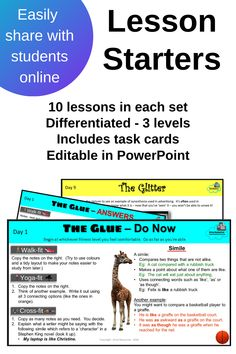 Use the complete set as a bell-ringer / lesson starter, set activities only as a printed or online homework class, print task cards for early finishers or emergency relief/sub lessons ... there is so much you can do with these lesson starters.  Differentiated, hyperlinked, designed for the high school English classroom.  All those skills that need reteaching year after year - sorted!  Set 10 is out now - a bit of a change - study skills!