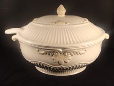 LENOX Butler's Pantry Oval Covered Tureen w/ Ladle. Measures 14 1/4 inches long, 9 inches wide, and 9 1/2 inches tall with lid.  The ladle measures 10 1/2 inches long, and 3 1/2 inches wide.  #butlerspantry