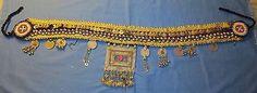 "Belt Medallion Studs Coins Bells Afghan Kuchi Tribal Alpaca Silver Belly Dancing 44"" long"