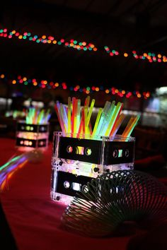 80s centerpieces. Glow sticks and cassette tApes