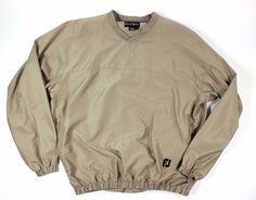 FOOTJOY FJ L Jacket Golf Rain Wind Shirt V Neck Pullover Beige Large DryJoy LOGO #FOOTJOY #Windbreaker #golf