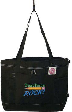 Teachers Rock! Gemline Select Zippered Tote Bag School Teachers Pencil Monogram