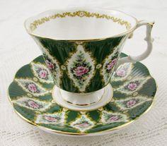 "Royal Albert ""Buckingham"" Green Tea Cup and Saucer, Royal Series, Vintage Bone China"