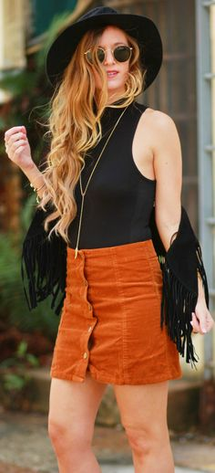 Fringe vest and suede button up skirt, Spring boho outfit