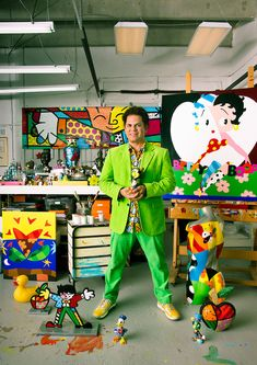 Artist Romero Britto in his Miami studio (photo by BrianSmith.com) - Romero Britto is a Brazilian-American Neo-pop artist, painter, serigrapher, and sculptor. He combines elements of cubism, pop art and graffiti painting in his work. Britto has lived in Miami, Florida since 1989. Romero was selected to serve as the Ambassador to the 2014 FIFA World Cup in Brazil. (Miami, Florida)