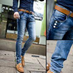 La primavera 2014 coreano nuevo de la moda los pantalones vaqueros de los hombres, ajustados pantalones elásticos lavado los pies casual azul de mezclilla pantalones de los hombres.