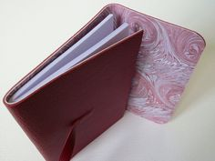 Dark Red Leather Bound Notebook/Journal lined with Marbled Paper by Leather Bound