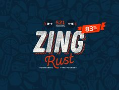 Zing Rust™ is an extremely huge package of outstandingly handmade 521 fonts!As its name refers Zing Rust stands for the vital freshness of your ideas and bold designs.It includes the 4 (four) major sub-families Zing Rust, Zing Script Rust, Zing Sans Ru… Great Fonts, Cool Fonts, New Fonts, Sans Serif Fonts, Script Fonts, Type Fonts, Online Fonts, Photoshop, Free Fonts Download