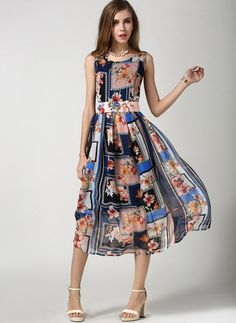 Multicolor Chiffon Print A Line Long Floral Vintage Dress [15061801220] - $22.73 | Letsmi.com
