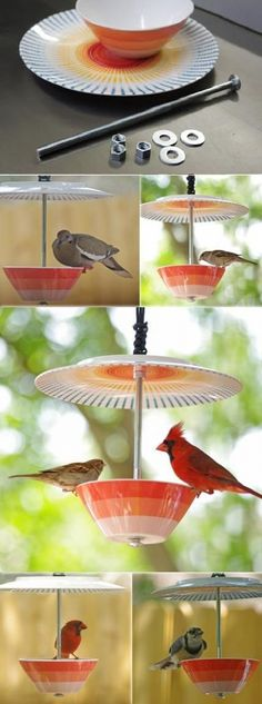 Make a Bird Feeder from Bowl and Plate - Springtime is in full swing and summertime is knocking on our door. Lots of birds chirping, why not have a closer look at them? I'm not a huge fan of all the very plain looking bird feeders out t diy garden cheap Make A Bird Feeder, Homemade Bird Feeders, Teacup Bird Feeders, Bird Feeder Poles, Hanging Bird Feeders, Garden Crafts, Garden Projects, Diy Crafts, Crafts Home