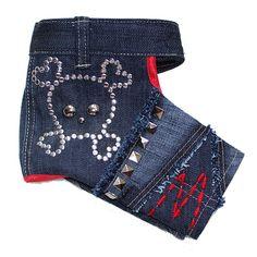 fc083e610f Cute Skull Studded Designer Dog Jeans