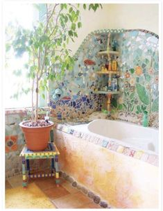 Earthship, Bohemian Bathroom, Bohemian Decor, Bohemian Style, Hippie House Decor, Bohemian Homes, Boho Gypsy, Style At Home, Mosaic Bathroom