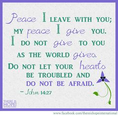 Peace I leave with you; my peace I give you. I do not give to you as the world gives. Do not let your hearts be troubled and do not be afraid. - John 14:27 (NIV)  #bible #prayer #hope #thereishope #scripture #biblequote #biblequotes #john14 #peace#bible #prayer #hope #thereishope #scripture #biblequote #biblequotes #john14 #peace