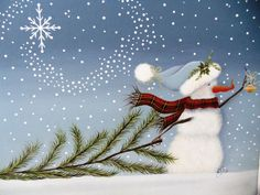 ♥ Beautiful country snowman fetching his Christmas tree ♥ Can easily be adapted to other surfaces ♥ Full instructions for acrylic painting, complete with several pictures Go along the lovely winter stroll in search of the perfect Christmas tree! A true treasure to paint and hang in your foyer at Christmas to greet your guests